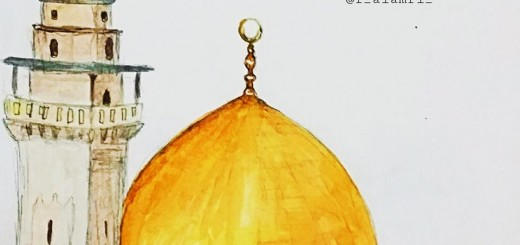 قبة الصخرة ومئذنة باب السلسلة وكلاهما من معالم المسجد الأقصى