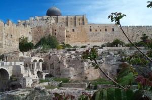 قبة المصلى القبلي الرئيسي في المسجد الأقصى من جهة القصور الأموية خرج السور الجنوبي (جدار القبلة) في المسجد