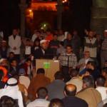 من درس الثلاثاء للشيخ رائد صلاح في صحن قبة الصخرة في قلب المسجد الأقصى قبل منعه من دخول المسجد والذي تواصل منذ عام 2007م