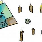 المعالم الثمانية المقصوصة - تطبع على ورق لاصق وتقطع